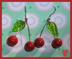 Cherries fimo earrings by merylu
