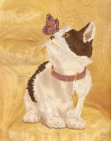 Cat and Butterfly - Marquetry by amazoncanvas