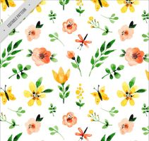 Water painting flowers seamless background vector  by FreeIconsdownload