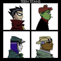 Gorillaz and Teen Titans Cross by Grim76