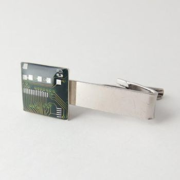 Circuit Board Domed Green Tie Clip by Techcycle