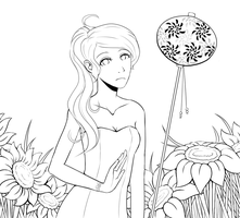 She Loves Sunflowers LINEART by JustCallMeFade