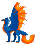 Orange and Blue Griffin by PlumiiraCreature