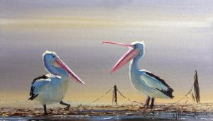 Coastal Oil Painting- 'Don't Argue' by jo-hagan