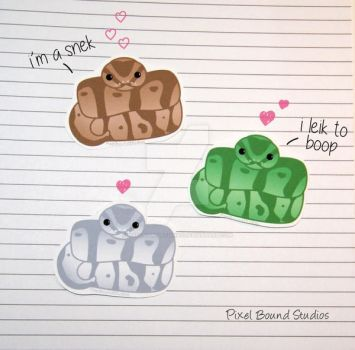 Chibi Ball Python Stickers and Magnets by pixelboundstudios