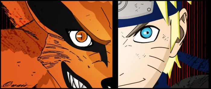 naruto vs nine tails by owaeyss