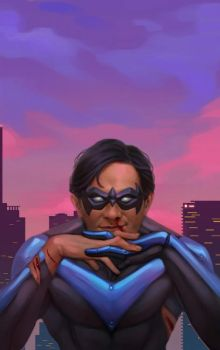 Nightwing at the city by Vergil-Arkham