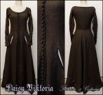 Brown Wool Cotehardie / Gothic Fitted Gown by DaisyViktoria