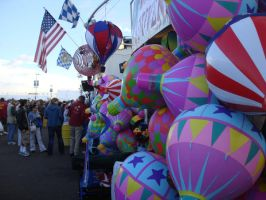 People, balloons and flags by maryhelen
