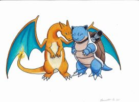 Blastoise and Charizard by BronzeDragon11