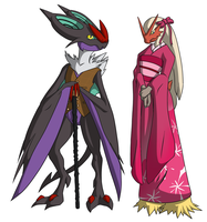 Commission: Blaziken/Noivern for Champloon by roobertoober