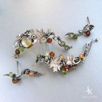 Autumn ear cuff and stud sets by JSjewelry