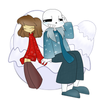 Staying in the snow . Sans X Frisk . by shadcream4eva