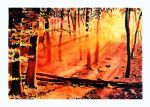 Mixed Media: Sunset in forest by TERRIBLEart