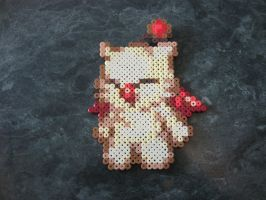 Perler mini Moogle from Final Fantasy by rushtalion