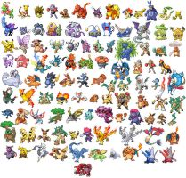 100 fused pokemon sprites by piposh