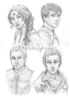 Sketch Commission -  Harper, Zack, Kallen, Xavier by SerenaVerdeArt