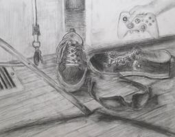 Charcoal Still Life: Shoes by ShadowWinds