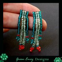 poppies in the grass earrings by green-envy-designs