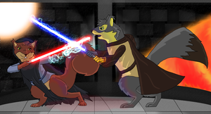 Ali and Celen - Jedi Squirrels by Acorntail