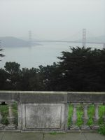 Goldengate in fog from the Presidio by mirengraphics