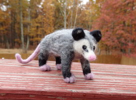Needle Felted Opossum by DancingVulture