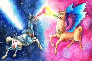 The Epic Llama Battle by TrollGirl