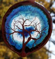 Blue Tree Of Life Agate Suncatcher by thewhsiperingwillow