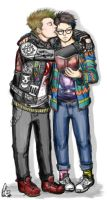 Punk!Dean and Hipster!Cas by moloko-plus