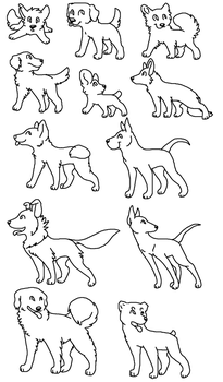 Free MS Paint Dog Breed Batch Lineart! by KayAdoptables