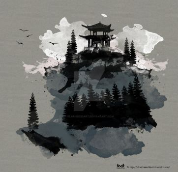 Japanese Temple - Watercolour by Clarisse2DArt