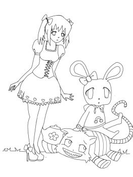 Wonderland Lineart by Knitted-Brain