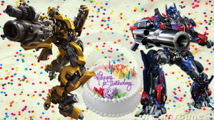 Birthday Wallaper optums prime and bumblebee by kari5