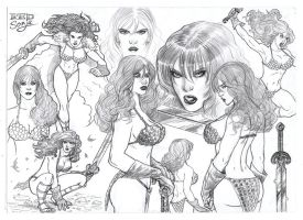 Red Sonja Sketch page by mikepacker