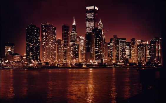Chicago at Night by Parabola-Pop