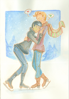 {Spirk Advent} ~ Day 03 - ice-skating by AmberSquash
