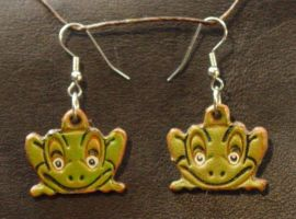 Leather Frog ear Rings by larrysleather