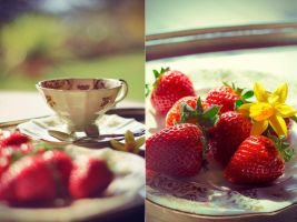 Tea, spring and strawberries by Cartismandua