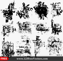 Grunge Texture Vector Set-1 by 123freevectors