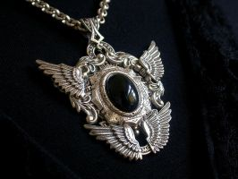 Gothic Silver Double Wings Pendant by LeBoudoirNoir