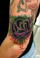 Black and Purple Traditional Rose by Sirius-Tattoo