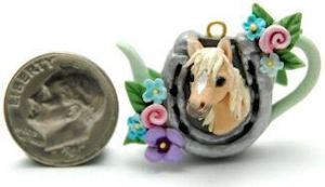 HORSE PONY LUCKY SHOE TEAPOT by WEE-OOAK-MINIATURES