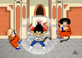 Dragon Ball Kid Vegeta vs kid Goku and Kid Krillin by Il-Piccolo-Torero