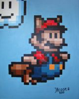 Racoon Mario in Acrylic by JesseAcosta