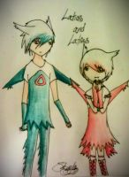 Latios and Latias Human by Potatobadger