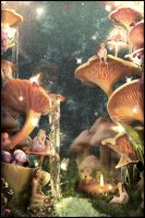 Inside the Mushroom Village by Jay-Hobbit