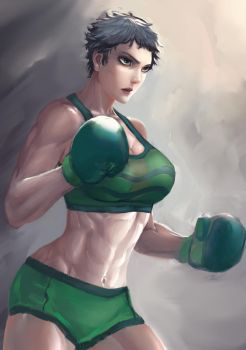 FeliciFury:grey shot hair boxing girl - Commission by Paiplez