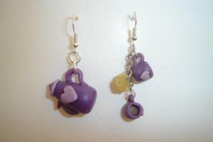 purple teapot earings by ginajaja