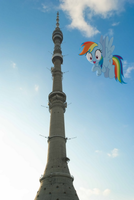 Rainbow Dash flying infront of Ostakino Tower by laopokia