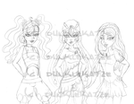 Sketch for a Collab - smexy peach Girls by Dunkle-Katze